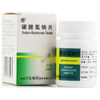 力生,碳酸氢钠片,0.5g*100片/瓶,用于碱化尿液及酸血症,也可用于胃酸过多